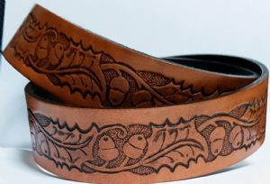 "Acorns and Leaves Embossed Full Grain Tan Leather Belt . 1½"" (38mm) Wide"